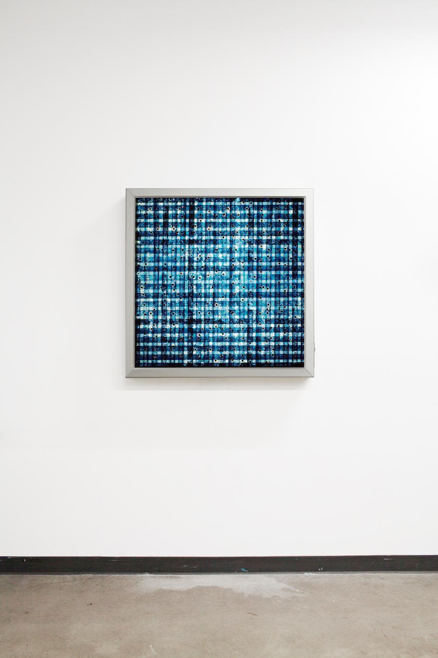 Drill Blue (Woven). 35mm Celluloid Film, Fluorescent Lights, Custom Lightbox. 30x30x6. Richard Kerr. 2016.
