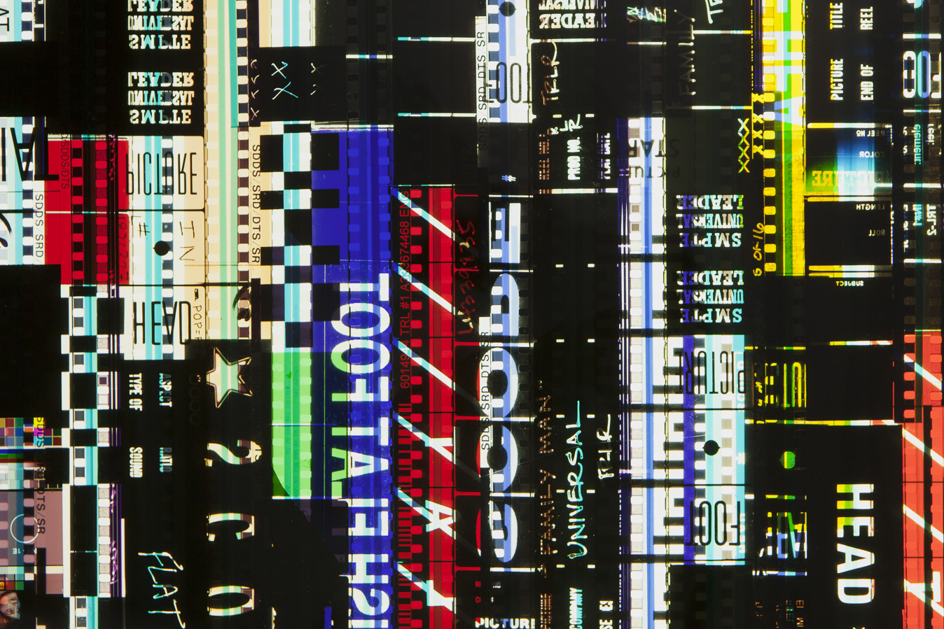 Ascending Leaders 1.35mm Celluloid Film, Fluorescent Lights, Custom Lightbox. 30x30x6. Richard Kerr. 2016. (Detail).