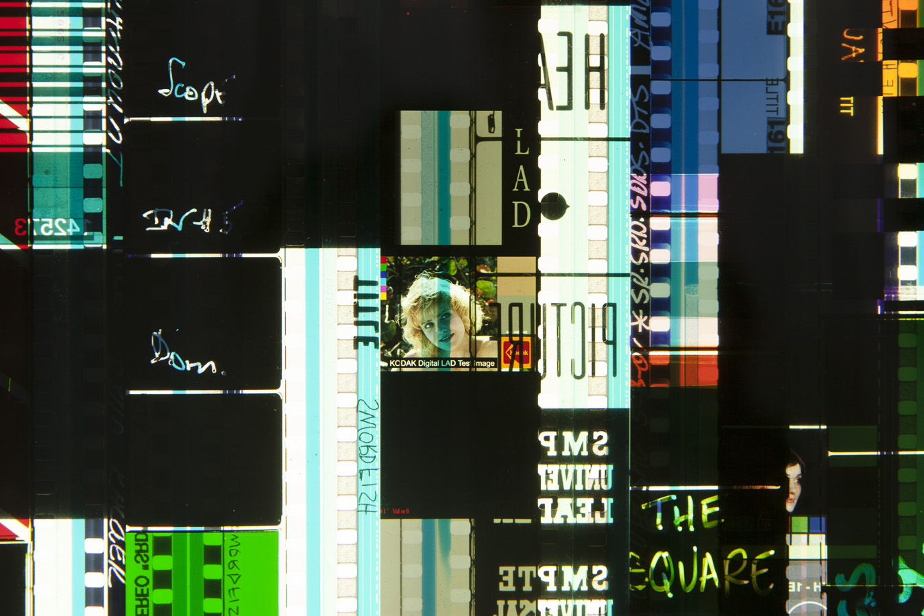 Ascending Leaders 2.35mm Celluloid Film, Fluorescent Lights, Custom Lightbox. 30x30x6. Richard Kerr. 2016. (Detail).