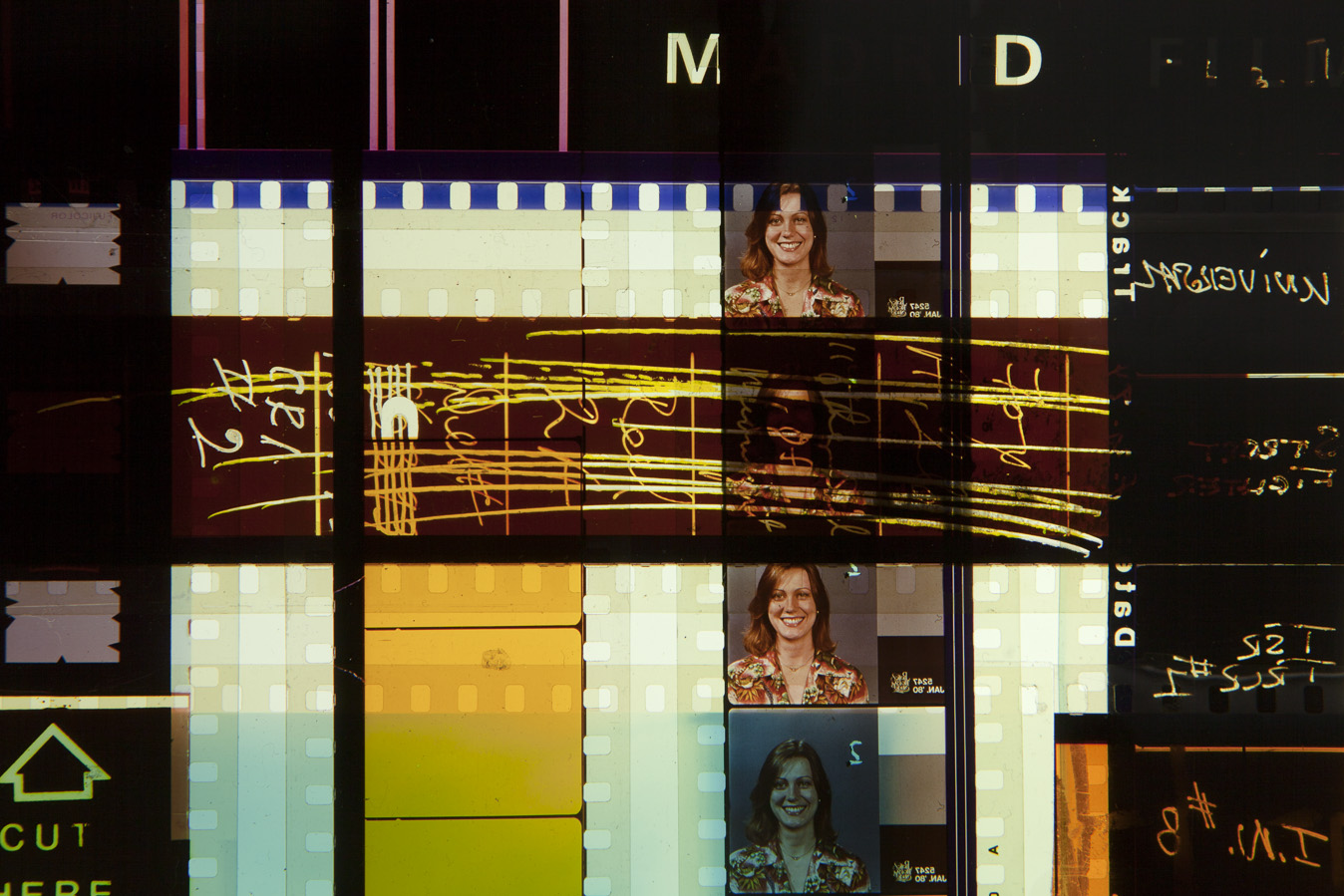 Love and Anarchy. 35mm Celluloid Film, Fluorescent Lights, Custom Lightbox. 30x30x6. Richard Kerr. 2016. (Detail).