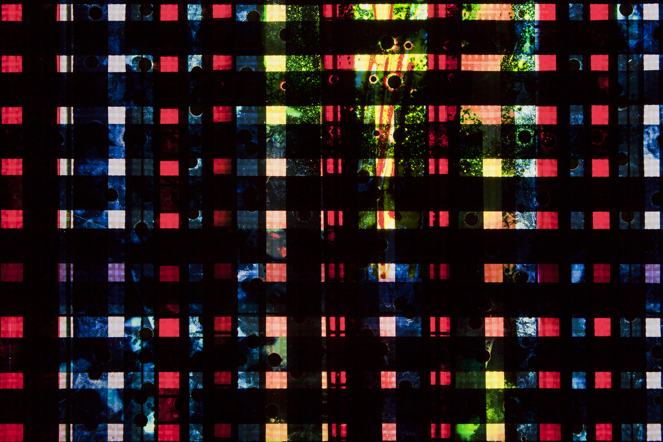 Drill Blue no.2. 35mm Celluloid Film, Fluorescent Lights, Custom Lightbox. 30x30x6. Richard Kerr. 2016. (Detail).