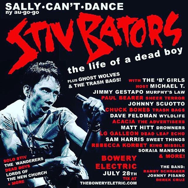 LG will sing for the Stiv Bators tribute night at Bowery Electric this Sunday for Sally Can't Dance. Party starts at 8pm. #deadboys #lordsofthenewchurch