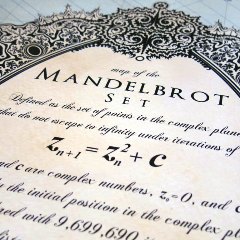 Close up photo of the map's cartouche, displaying the formula for the Mandelbrot set