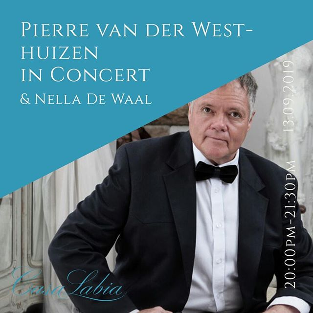 Evening Concert: Pierre van der Westhuizen and Nella De Waal . Friday - 13 September - 20h00  . This exceptionally talented, musical family, Pierre van der Westhuizen (Tenor) and Nella De Waal (Pianist), will delight you through a love-songs journey of personal tenor favourites this Spring. Meandering between the decades of classic love songs, from Neapolitan arias, German, French, Irish, Afrikaans and Freddie Mercury, a joyous journey to be enjoyed together with this duo down memory lane. It's the season of new beginnings, love, and excitement: a beautiful night not to be missed.  All ages welcome! . R165 per person - payable in advance - Free seating . For all Cultural bookings, please contact us on 021 788 6068 or email cultural@casalabia.co.za  . Cucina Labia Restaurant will be serving an a la carte dinner between 17h30 and 19h50.  . www.casalabia.co.za . #whatsonincapetown #casalabia #muizenberg #events #culturalcentre #theatre #music #performance  