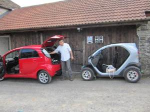 Traffic jam at the National Trust Dinefwr EV charging point.Neil with his beloved Citroen