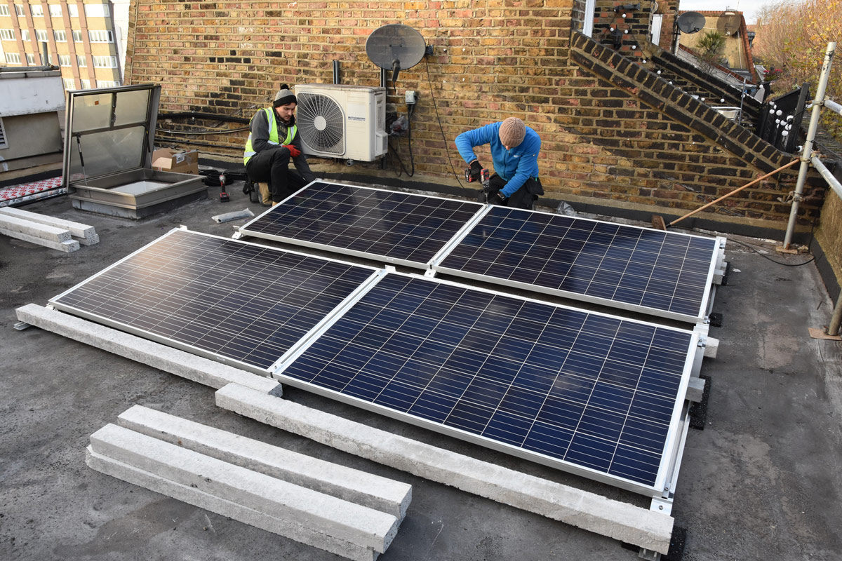 Image: solar panels are installed on the roof of LGBT+ helpline Switchboard.