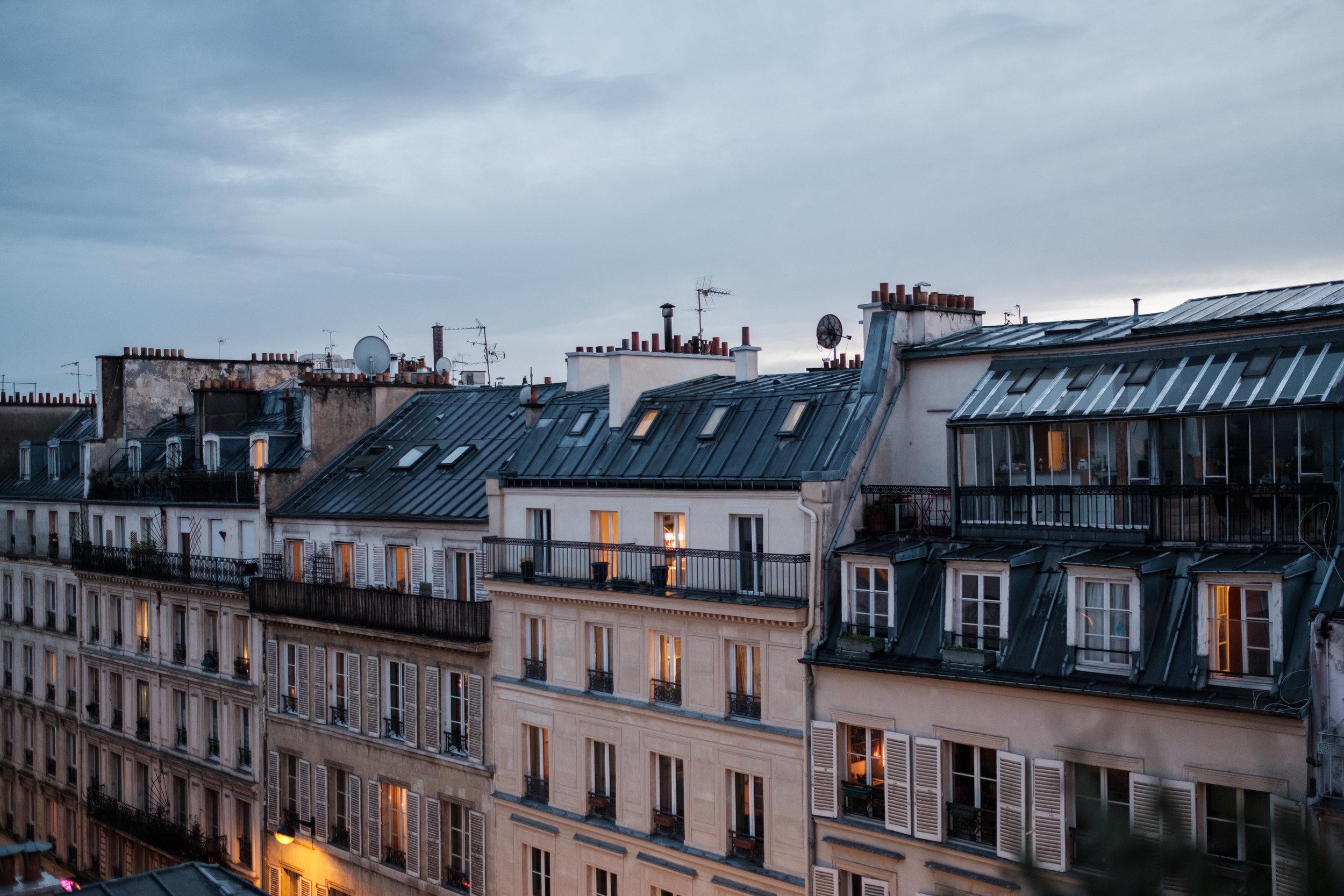 Beautiful view of Parisian rooftops