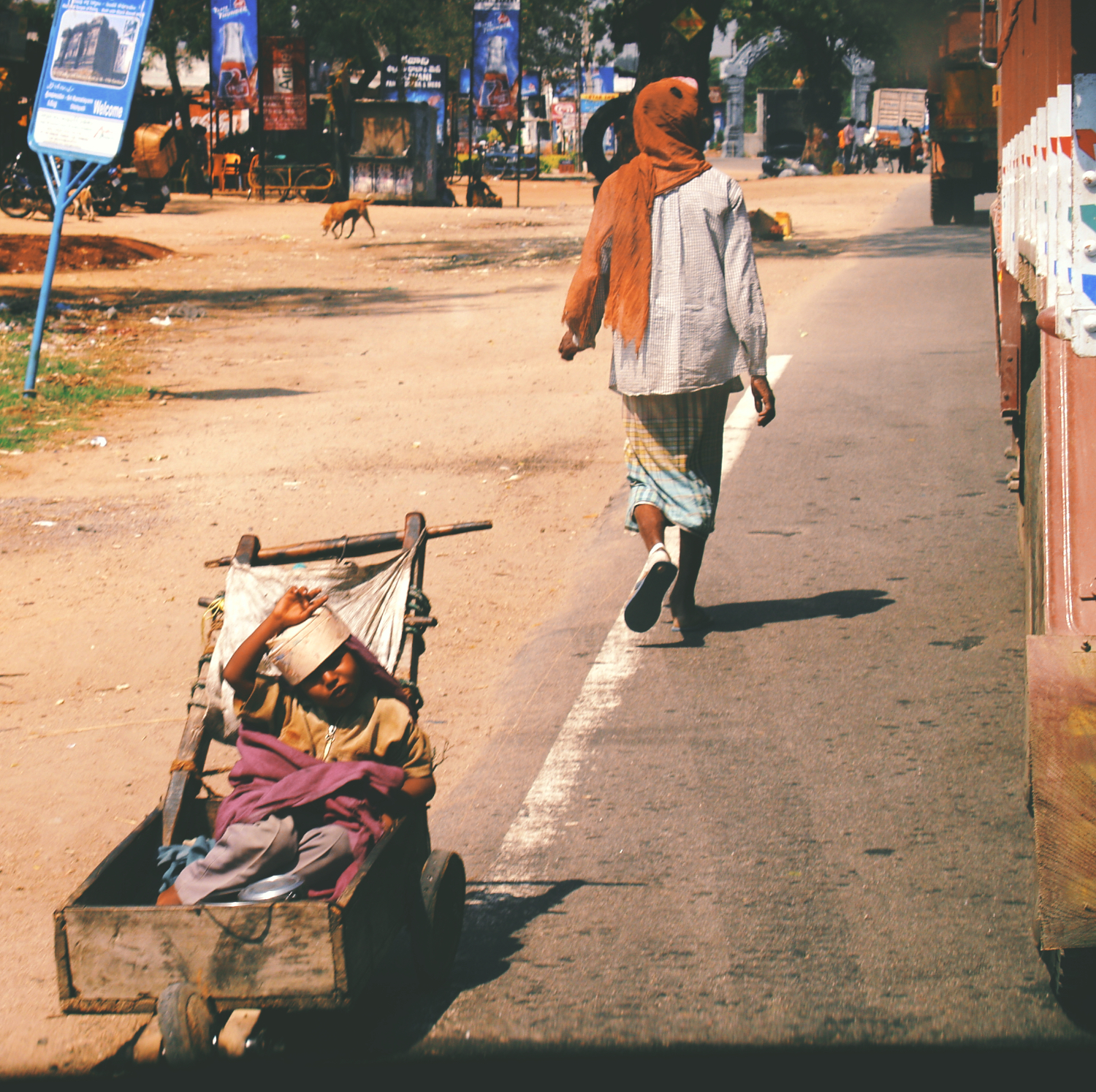 Disabled child poverty begging with father hyderabad india