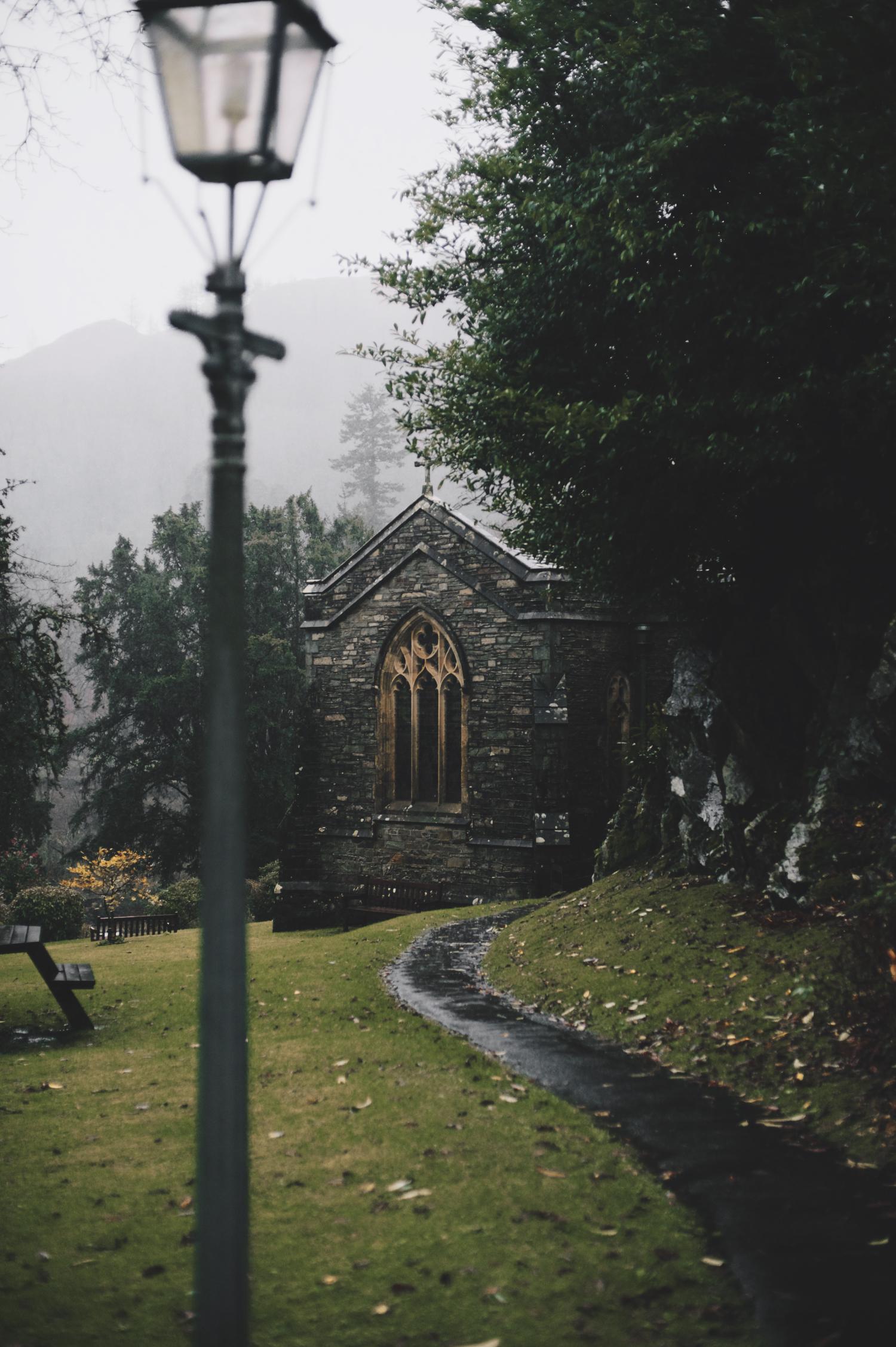 St. Mary's Church Rydal Hall Lake District rain