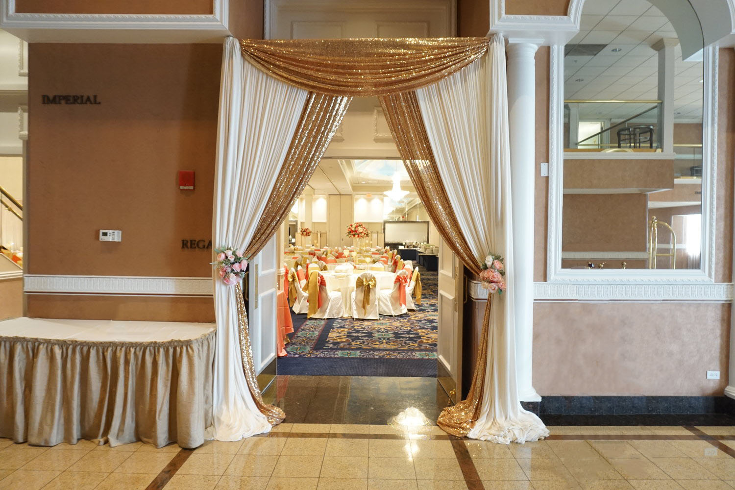 Off White and Gold Sequin Entrance Drape With Floral Accents.jpg
