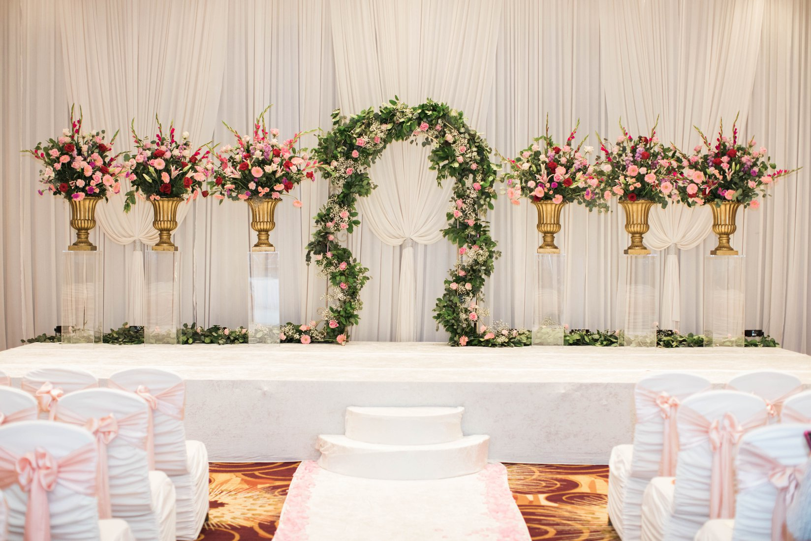 Column Ceremony Backdrop with Stage Cover, aisle runner and chair covers.jpg