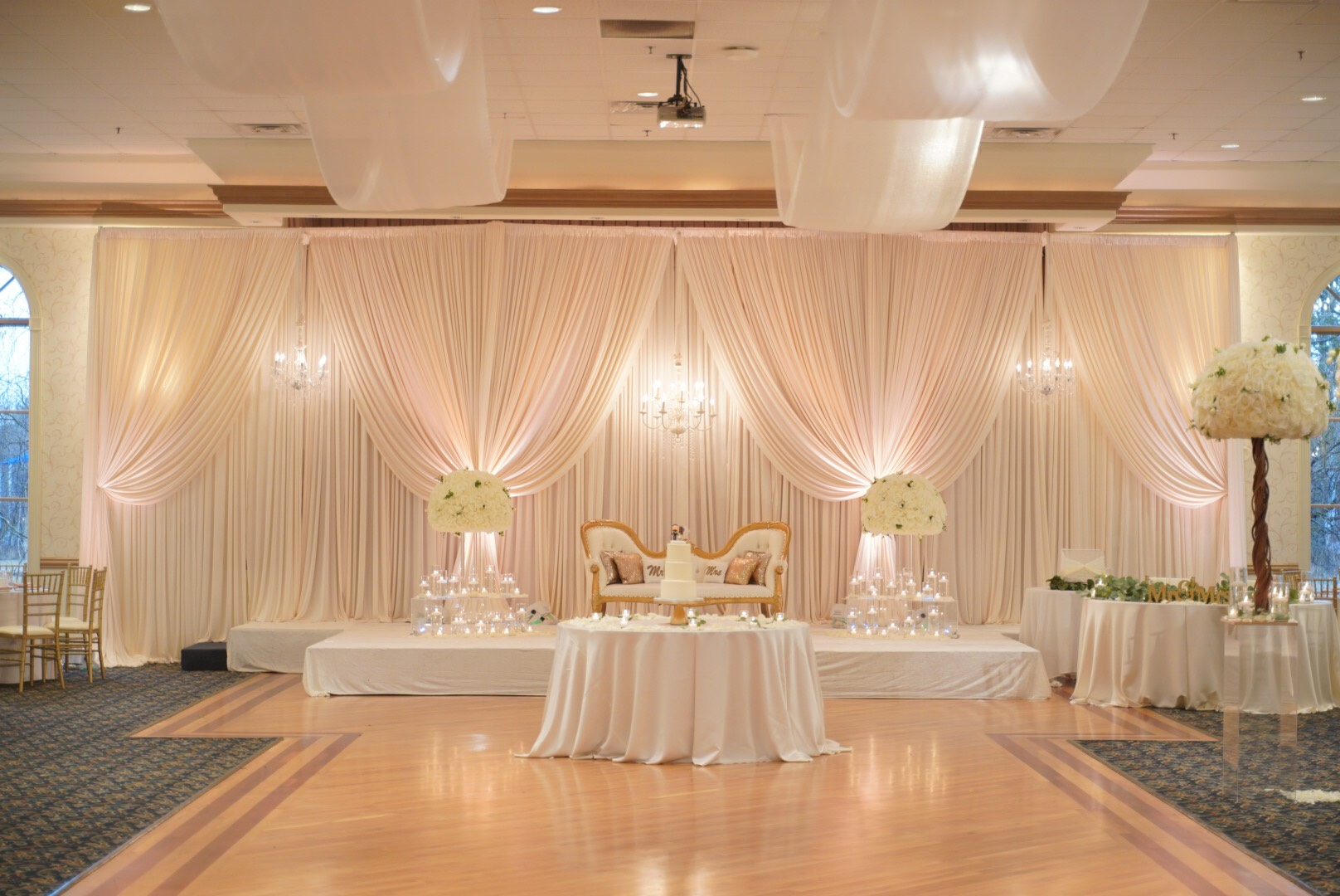 Chicago Backdrops Draping Satin Chair Event Design Decor Rental In Chicago I Wedding Decoration Rental I Balloon Art I Tent Rental In Naperville