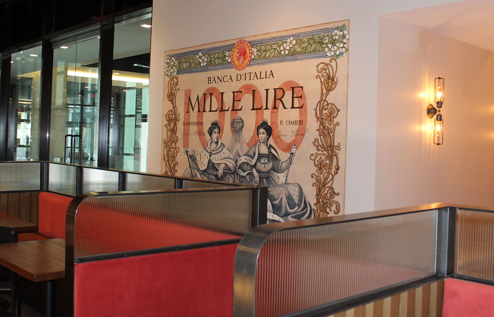 This 6' x 8' mural was inspired by a vintage Italian banknote that chef Giuliano provided.