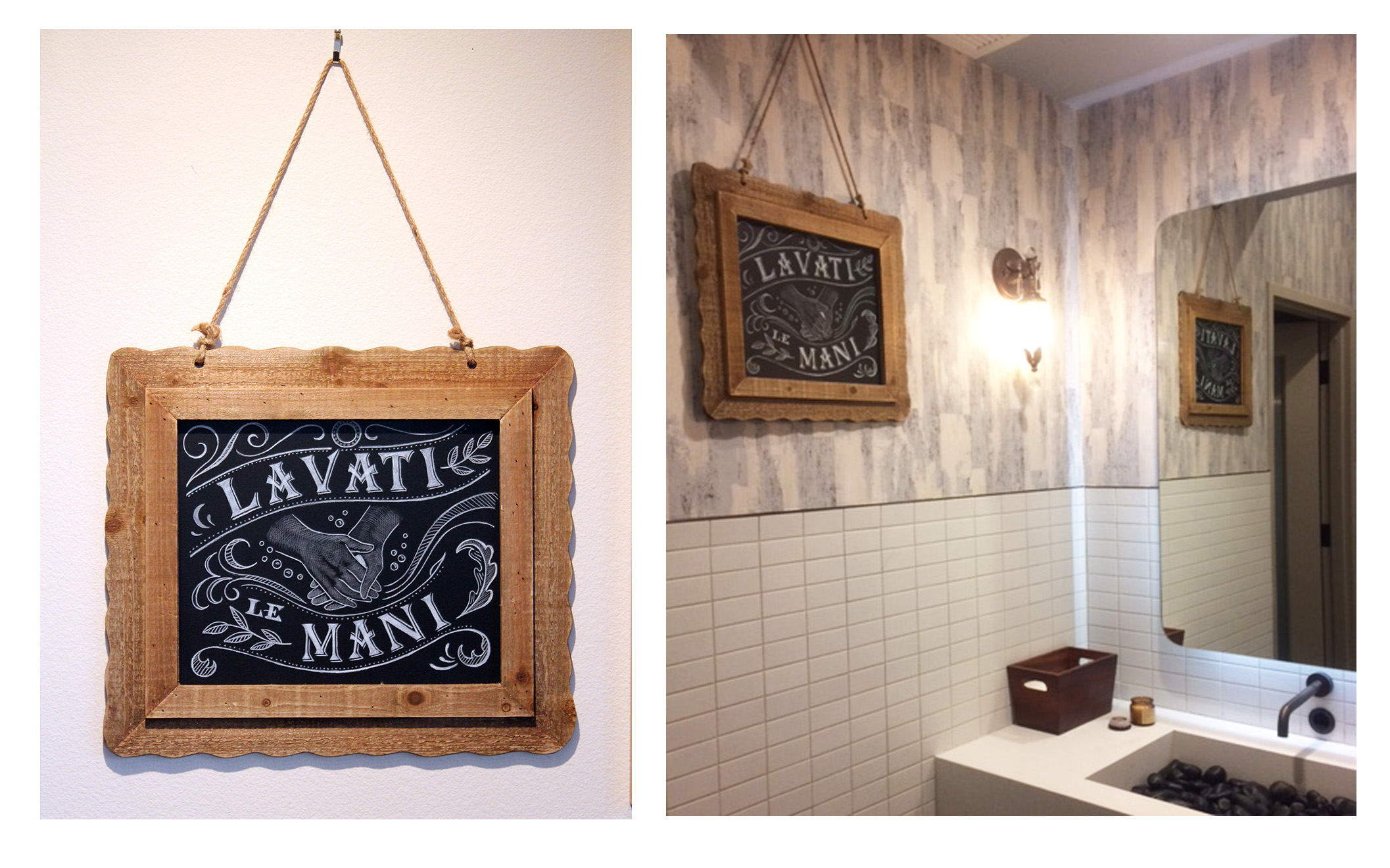 """""""Wash Your Hands"""" chalkboards were executed for each restroom."""