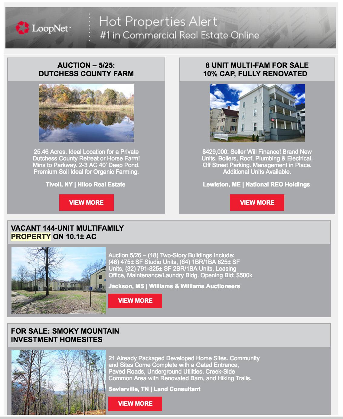 (Screenshot of a recent Hot Properties Bulletin.)