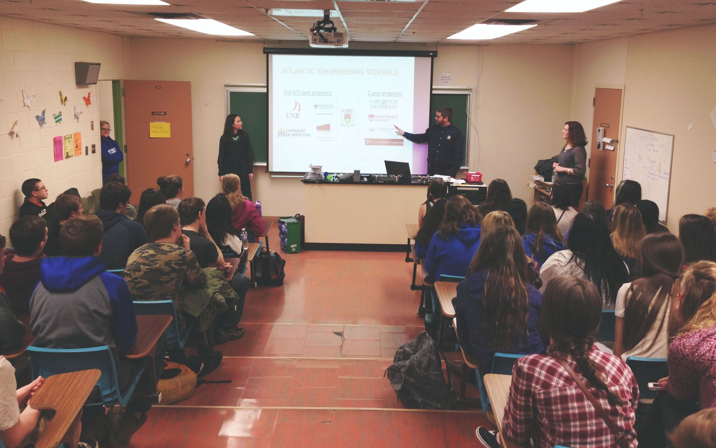 Lindsay Wilcott, Jeff Underhill and Tanya Horgan speaking to 70+ students at KV   High on March 18, 2016