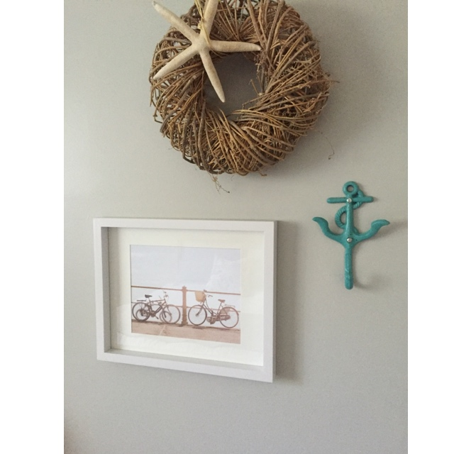 Frame & print from Chapters Indigo, anchor hook from James Street- Port Stanley, ON, starfish & wicker wreath from Joshua & Company- Port Stanley, ON