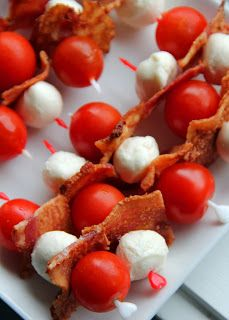 Or another idea for your tomatoes and bocconcini- add bacon and a skewer and you've got a Canada Flag