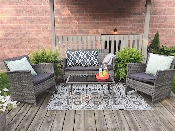 outdoor pillows- Target, outdoor rug- Real Canadian Superstore