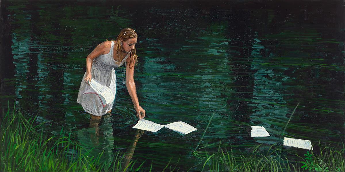 Floating Words, 2012, oil on linen, 100x200cm