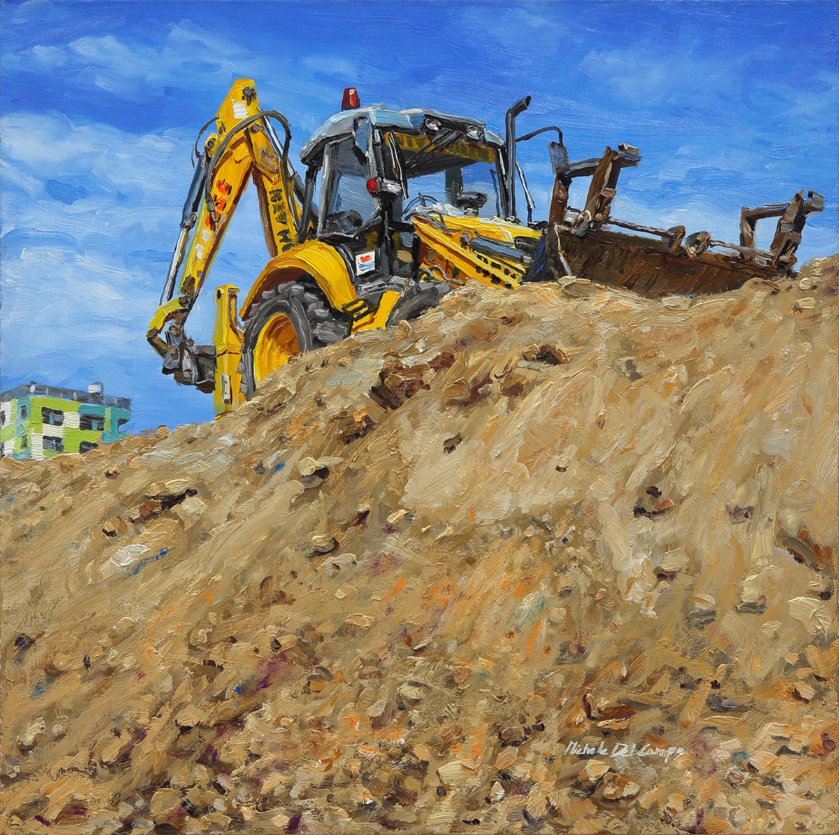 Excavator, 2014, oil on board, 40x40cm