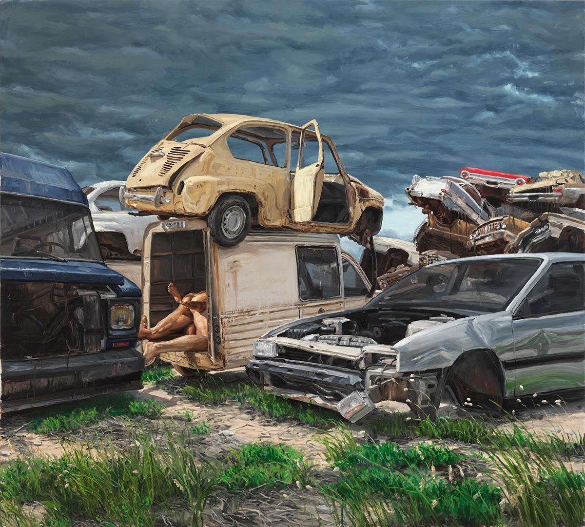 Cars Cemetery, 2011, oil on linen, 180 x 200 cm