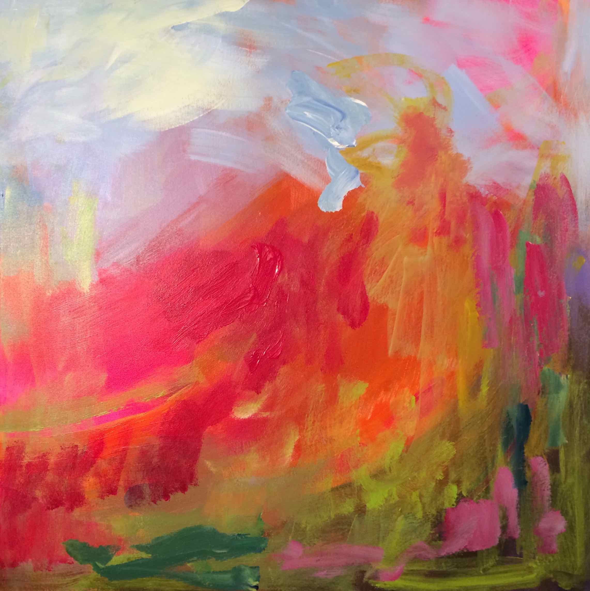 Pink Glow, Oil on Canvas, 30 x 30, $800