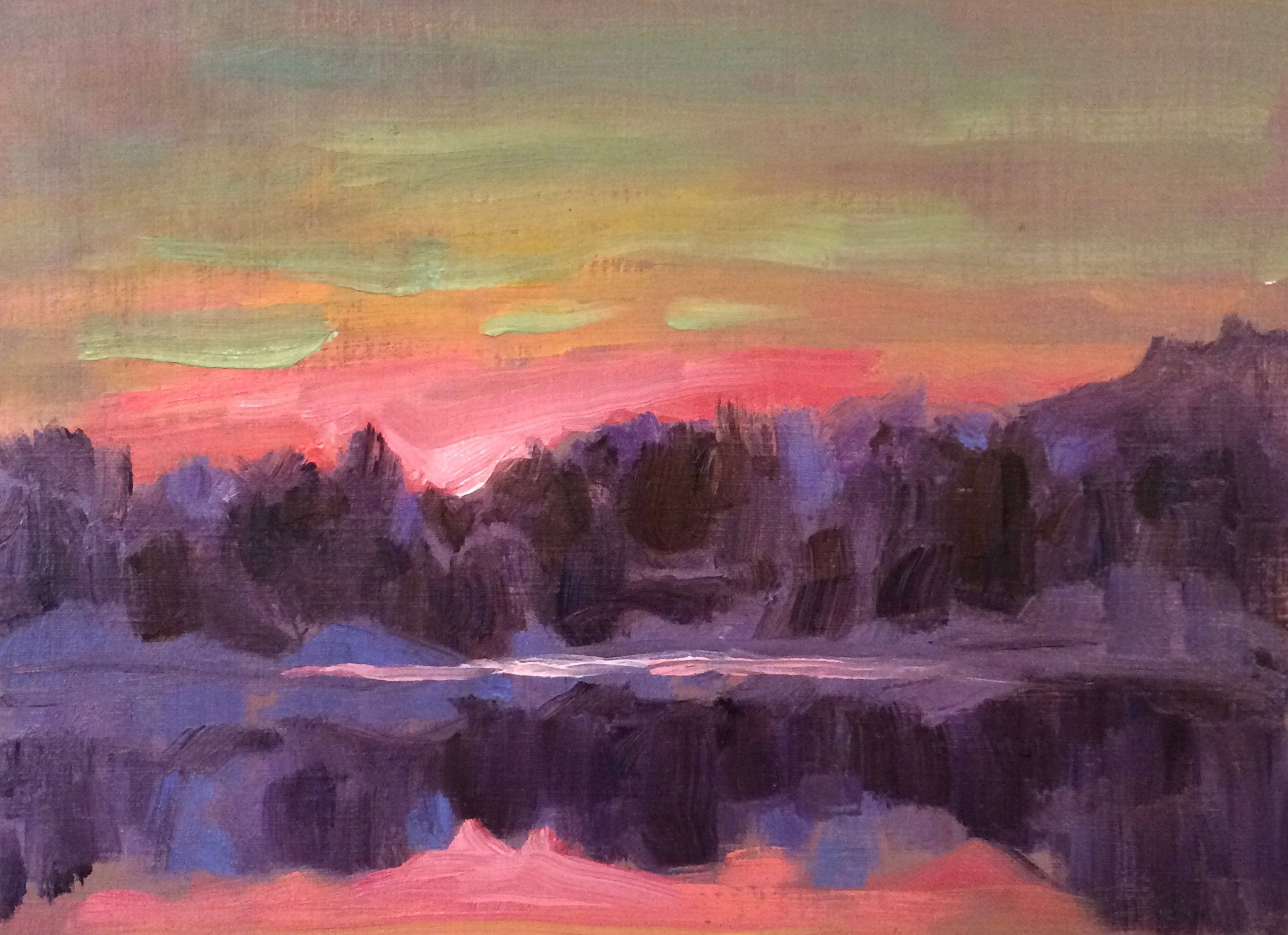 Across the Lake, Oil on Canvas, 7.5 x 11, $225