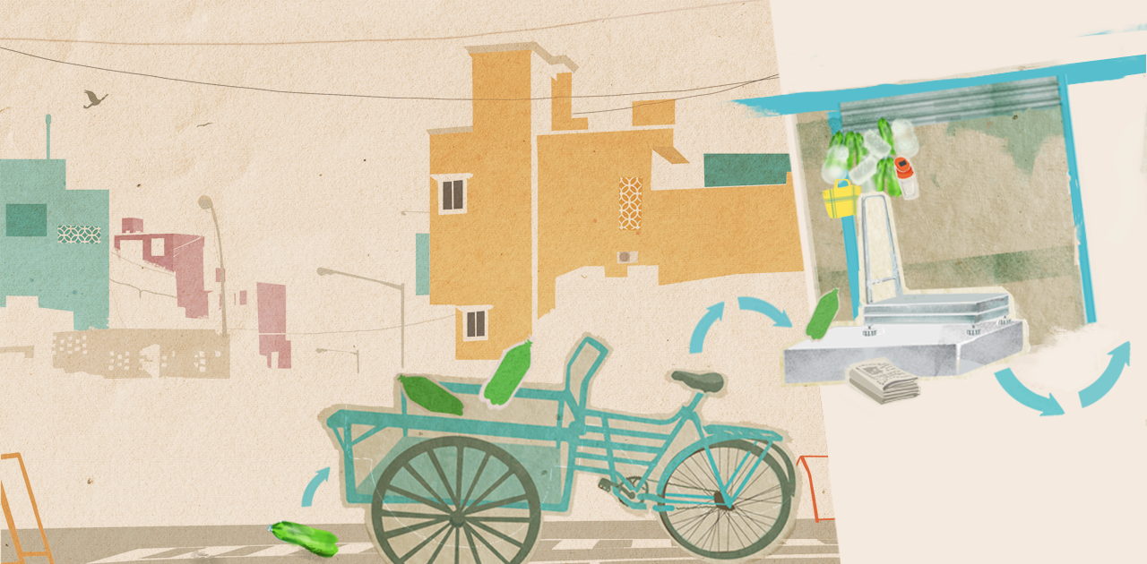 Illustration for Kabadiwalla Connect, a social enterprise based in Chennai, India