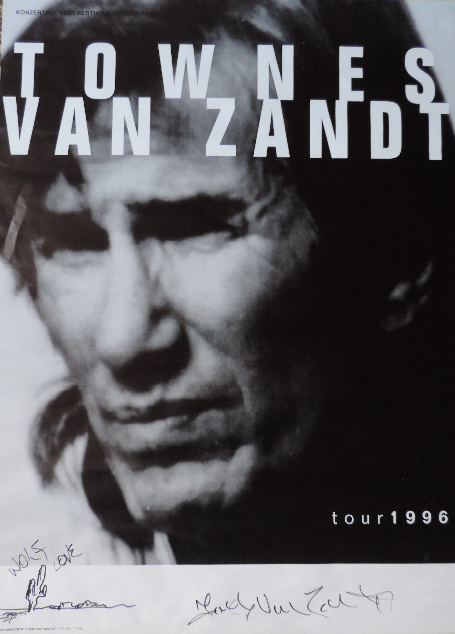 Poster from Townes Van Zandt's last tour on earth.