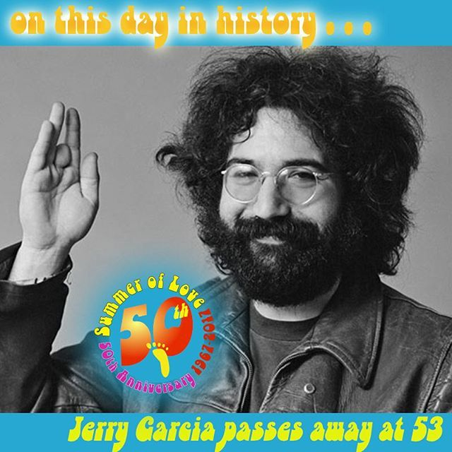"Jerry Garcia, lead guitarist and vocalist of the #GratefulDead, died on this day in 1995.  Garcia was once rated the 13th best guitarist of all time by #RollingStone Magazine, despite having lost most of his middle finger of the right hand at the age of five in a wood chopping accident. He had health issues later in life, including diabetes and drug addictions, and was in drug rehab when he died at 53.  No, he did not die of arthritis (aka ""bad joints""), nor did he fall off stage and break a hippie. (It was a heart attack.) If you would like to learn more about #Jerry, #theDead, the #counterculture movement in #SanFrancisco, the #HaightAshbury, #hippies, other musicians of that era—and have some fun while doing it—join us on a fun tour from FOOT! fun walking tours.  Our #Flashback tour of the #Haight is our special tour of the month for #August, and you'll have a blast learning all about the #SummerofLove and the #WinterofDiscontent.  #ThisDayInHistory #walkingtours #history #SummerofLove50 