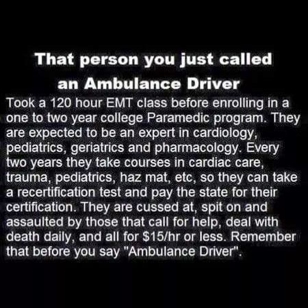 Let's not forget that private EMS folks are public servants too. Just without the same paycheck and benefits.
