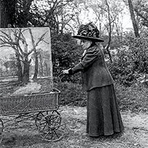 Tina Blau mit Malwagerl im Wiener Prater, um 1900, Fotografie