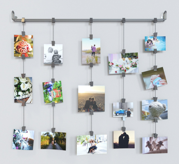 Hanging Photo Organizer Rail With Chains by FastHomeGoods