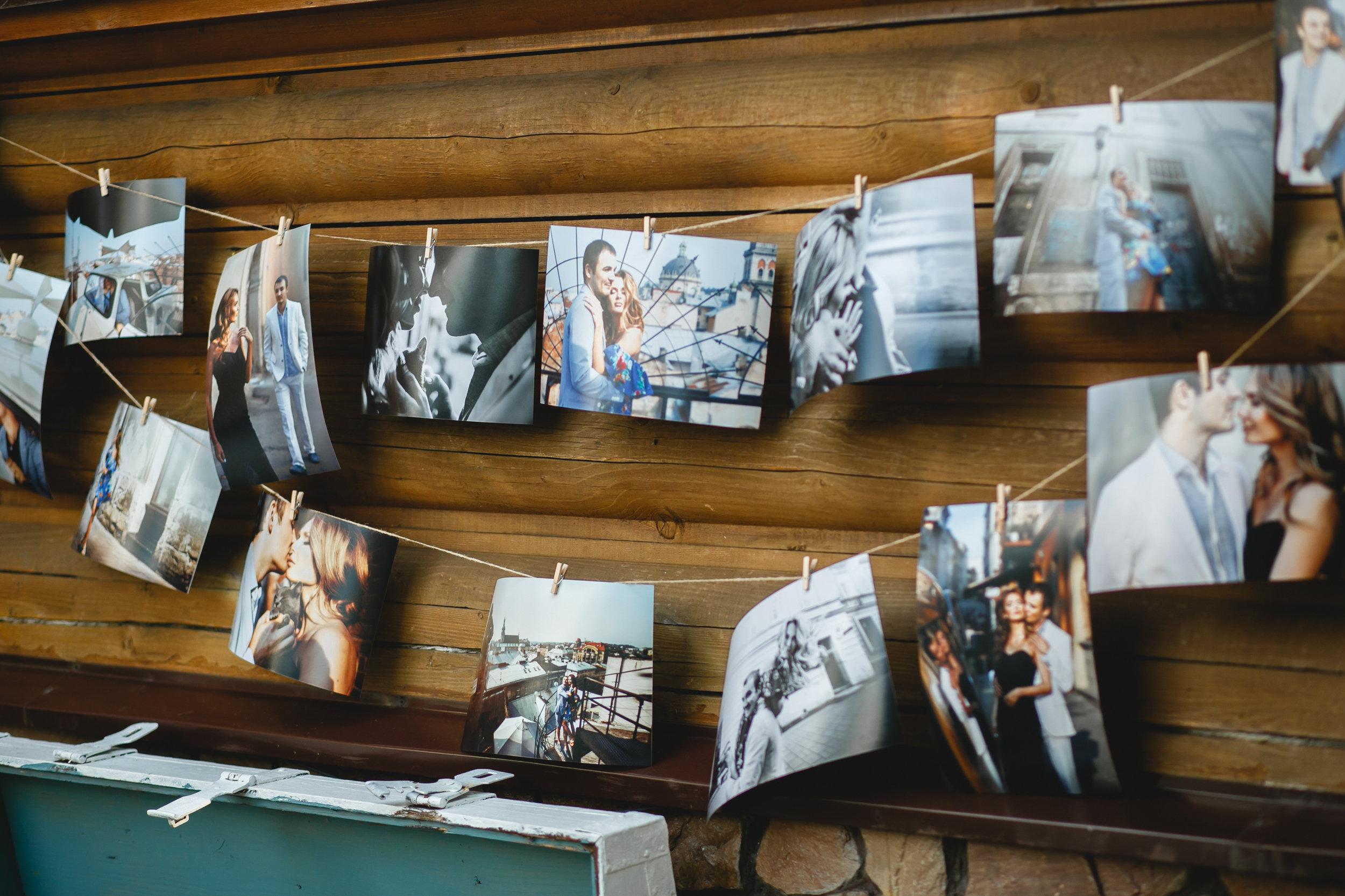 Wedding decor idea using photo prints