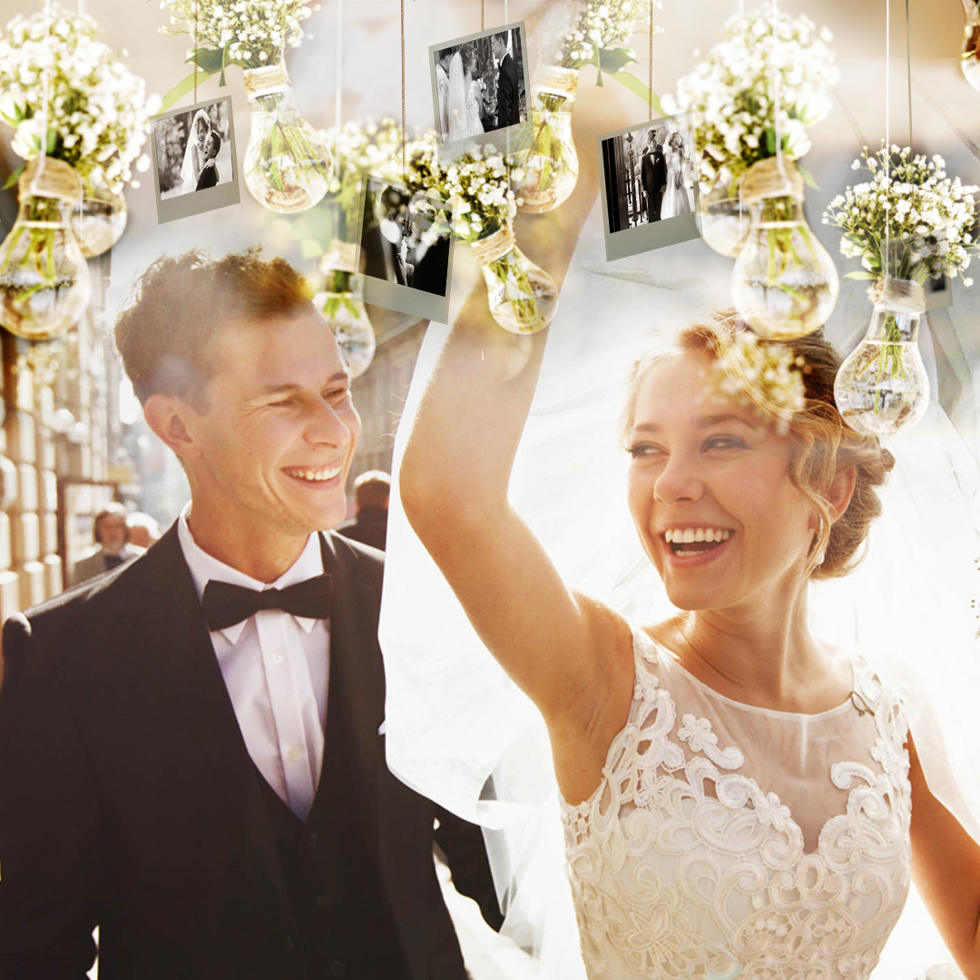 Add photo prints to your hanging flower garland