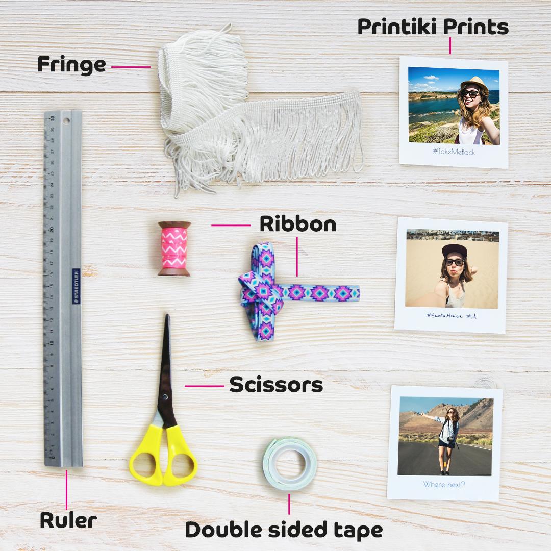 DIY Fringe Photo Garland materials