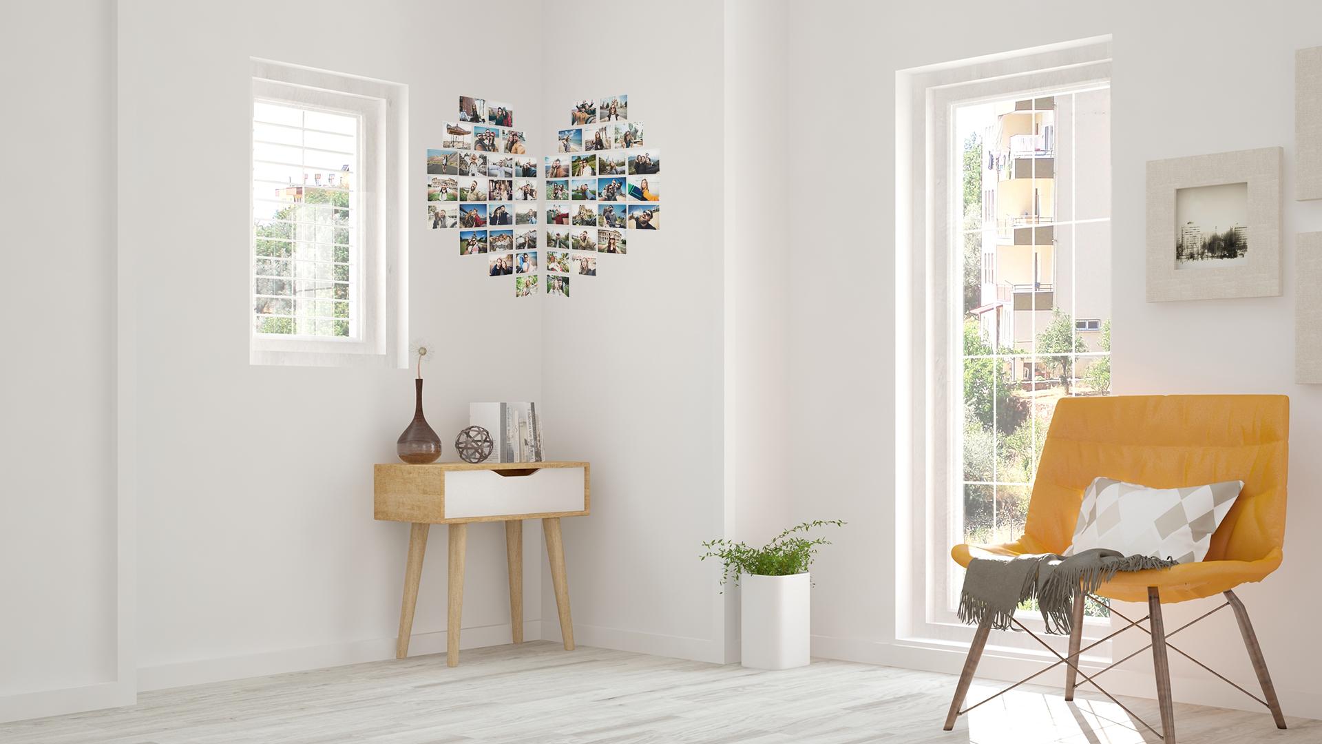 Corner Heart Photo Wall