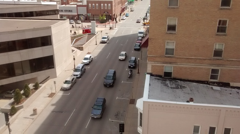 Scott Street looking towards the 2nd Street intersection in downtown Wausau from the Jefferson Street parking ramp. - PHOTO by Larry Lee, © 2016 Midwest Communications