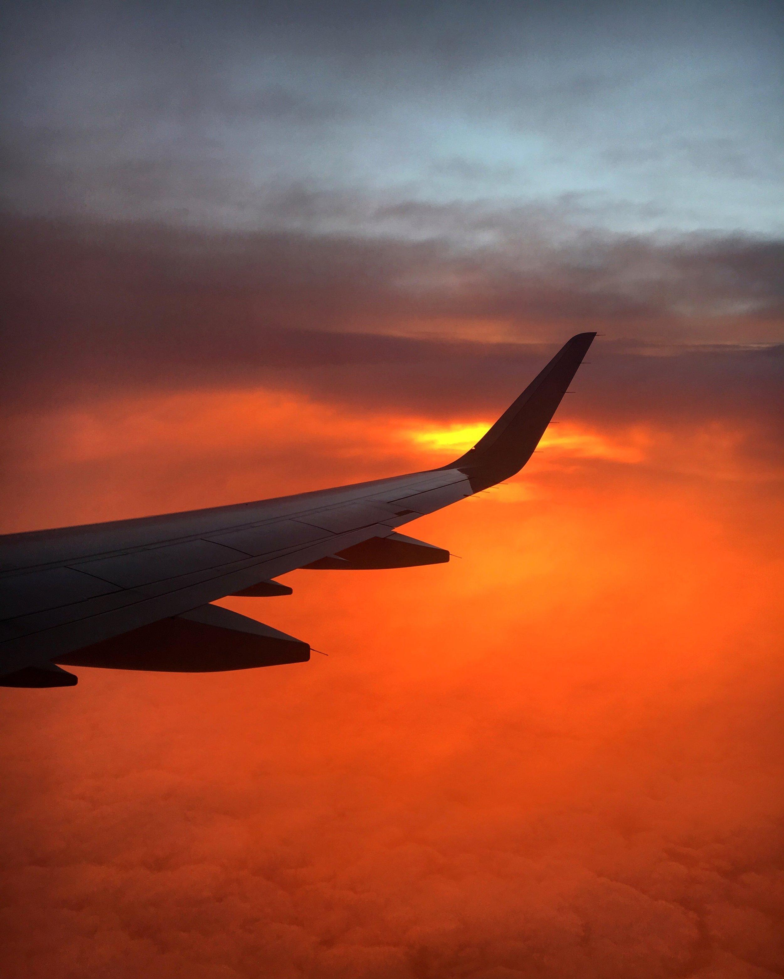 Sunrise as we flew into Dallas, TX.