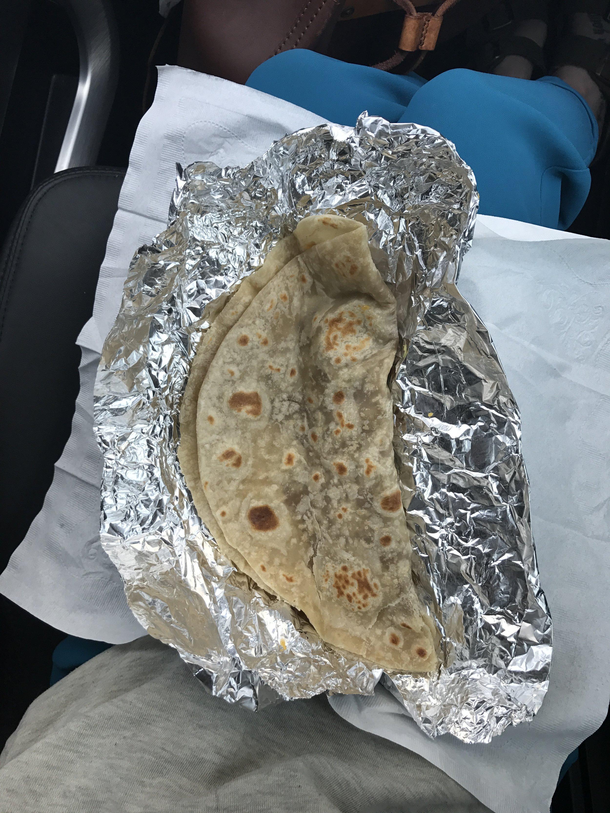 "Bean and cheese breakfast ""taco"" at Los Cabos."