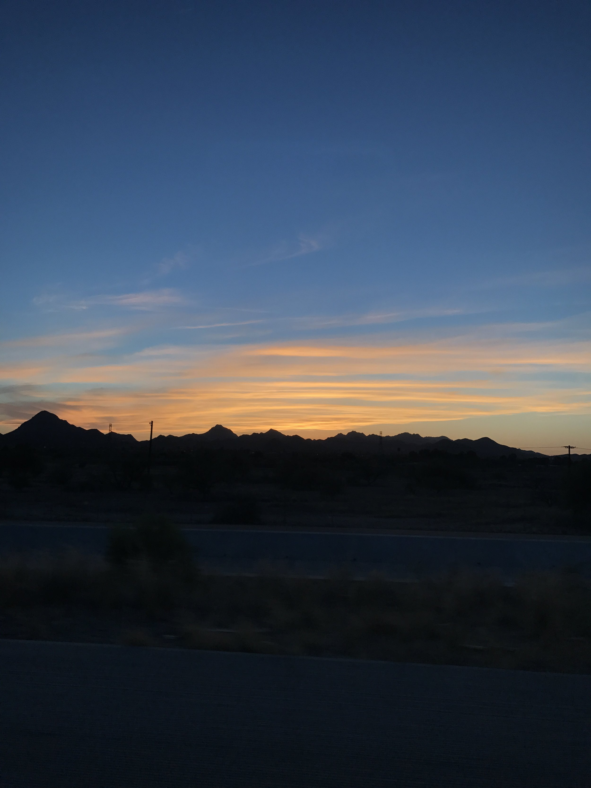 We also were lucky enough to see a glimpse of the sunset on our drive over to Grandma's.