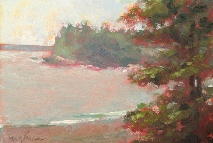 """Morning at Raccoon Beach"" 5x7, oil"
