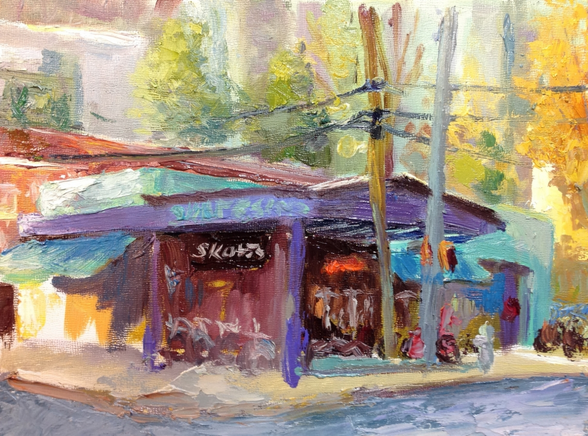 Study for the Skate Escape (across from Piedmont Park on 12th) 9x12 oil on panel - plein air