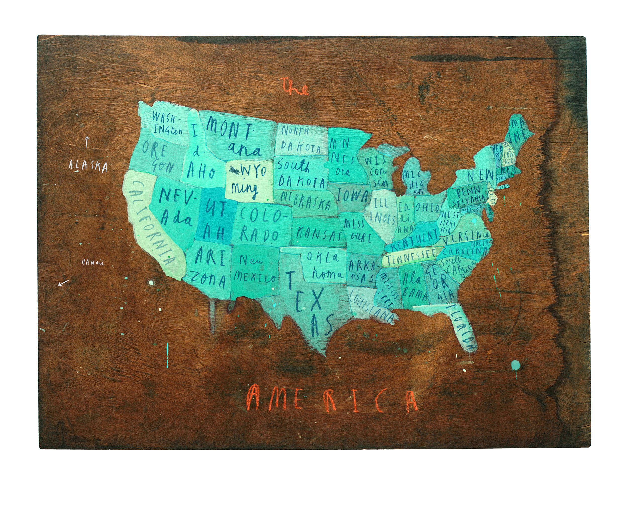 America Map Poster, 2016