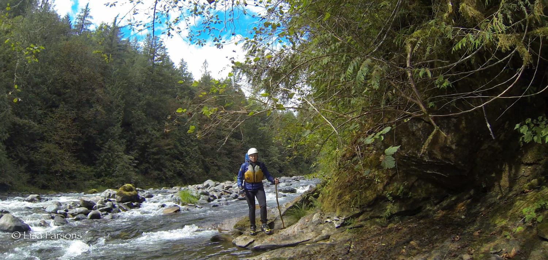 Lisa hiking along the upper Green River Gorge
