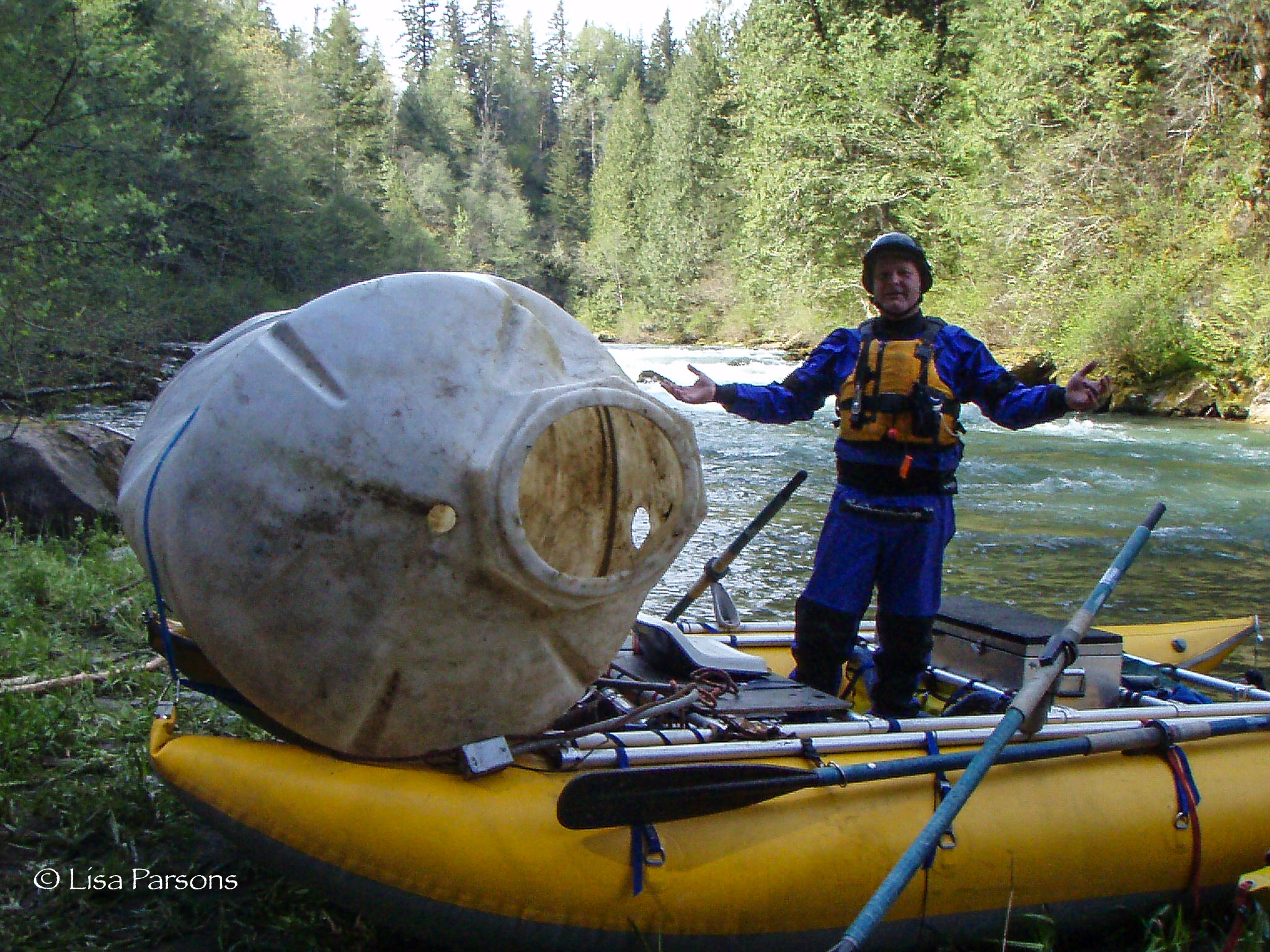 River Cleanup. A giant plastic water container? Photo by Chris Hewitt