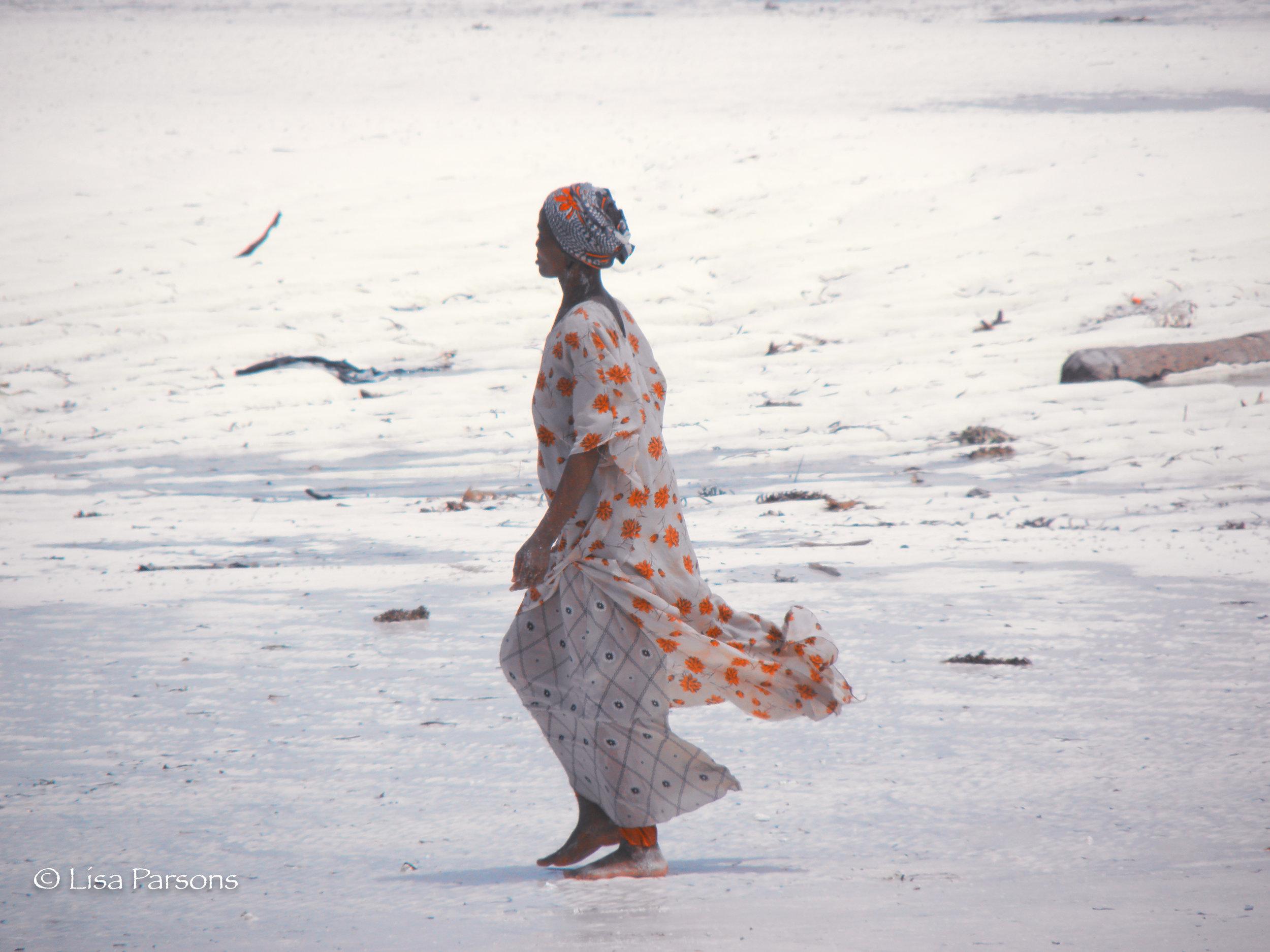 Woman in Flowered Dress, Zanzibar Tanzania