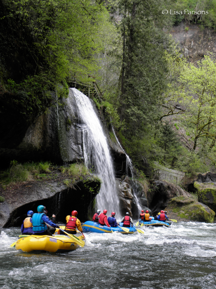 Group of Rafters Below Paradise Falls