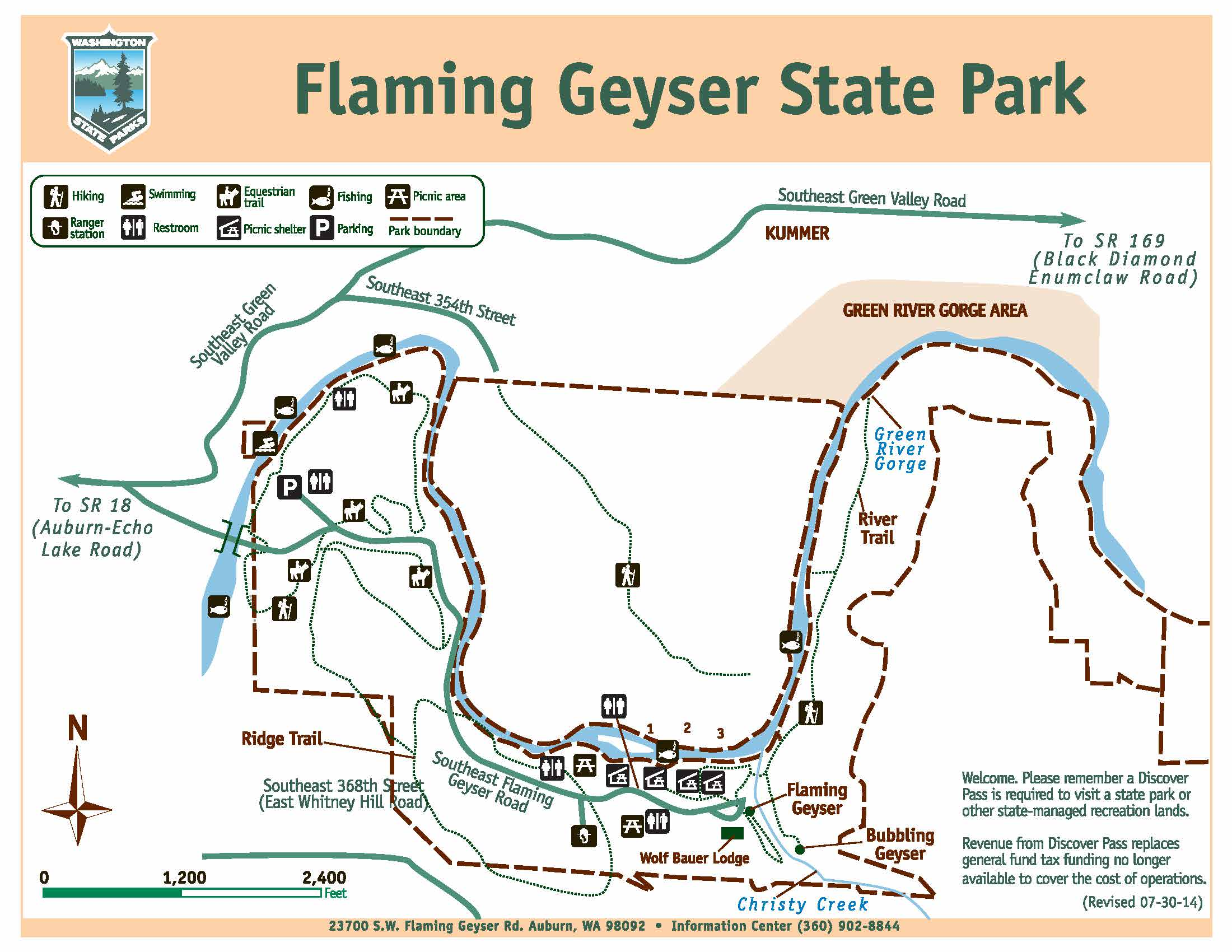 Map of Flaming Geyser State Park.  Trail is on the north side of the park off of SE 354th Street.
